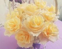 Light Yellow Paper Roses,15 pcs Weddings decoration, bouquet Crepe paper flower, Table flower arrangement Gift idea Yellow roses handmade