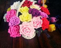 24 pcs crepe paper flowers, crepe roses basket, table decor,pink, red, yellow,white, purple roses, basket, wedding decor, wedding decoration