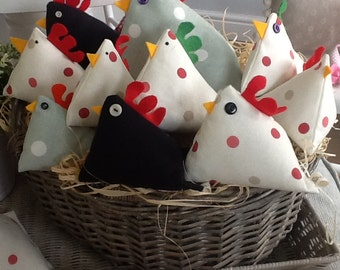 Hetty's Hens - fabric hen suitable for pin cushion, door stop, paper weight, bean bag toy, ornament or just to look cute in your home !