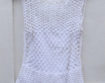 White Macrame Top  Summer Top  Macrame Summer Top