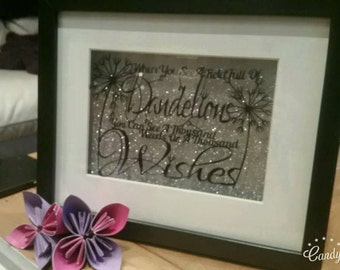 Hand Cut Floating Framed Dandelion Papercut