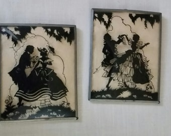 1930's Reverse Silhouette Paintings Victorian Couple. 2 Silhouettes 4 by 6 Pictures in Bubble Glass.
