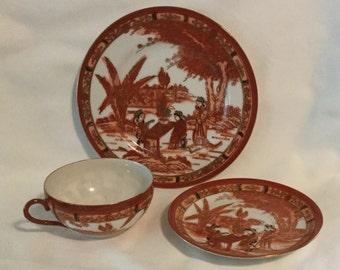 Vintage Hiroma Porcelain Lithopane Tea Cup, Saucer and Dessert Plate