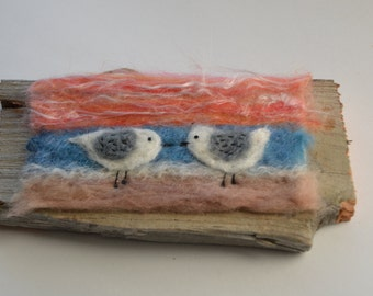 Folk art  needle felted image of Plovers on the beach at sunset