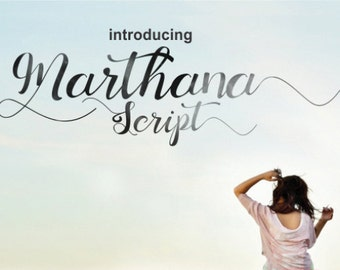 Marthana Script Font - Handwritten font download . Perfect Craft Font. Convert to embroidery font. Font for invitations