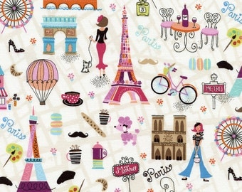 Paris Motifs - 1 yard Cut - Timeless Treasures Fabric - Cotton Fabric