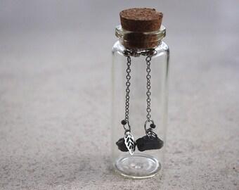 Earrings minimalist earrings woman/tourmaline black/jewelry steel stainless/fact hand/hypoallergenic