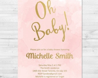Baby Shower Invitation Girl, Blush And Gold Baby Shower Invitation, Pink And Gold Invitation