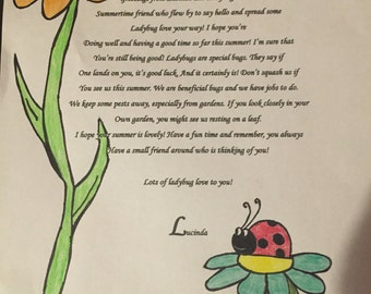 Letter from a ladybug for your kiddo!