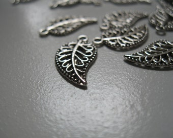 Silver Leaf Charms (2pc)
