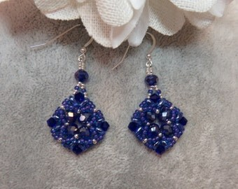Sapphire Blue Swarovski Crystal Seed Bead Hand Stitched Earrings in Sterling Silver Ear Wires