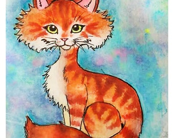 Tabby Orange - Watercolor Print, Animal Art