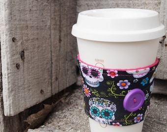 Reusable Coffee Cup Cozy ~*Candy Skulls*~