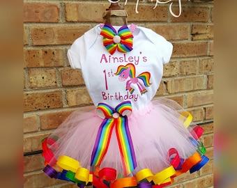 Rainbow Horse Ribbon Trimmed Tutu Set
