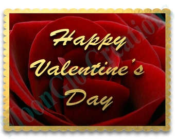 Valentine's Day card, Printable download, Rose, Gold font