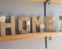 Jute twine wrapped HOME letters-rustic home decor-wedding decor-wedding shower-baby shower