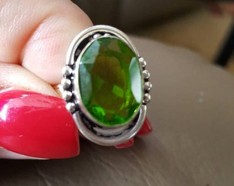Peridot Quartz Ring-size 6.25!