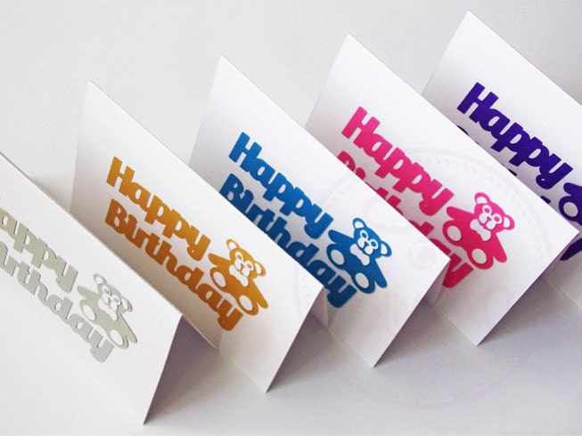 happy birthday teddy bear cards pack of 5 handmade birthday card happy birthday - Birthday Card Packs