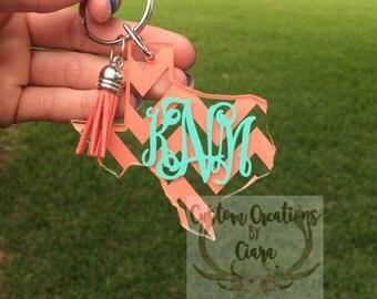Texas Monogram Keychain - Chevron Pattern - Any Color - Texas Home - Perfect Gift - Key Chain