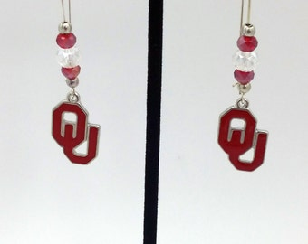 1 Pair - Oklahoma Steelers  Theme Dangle Beaded Earrings Brass Ear wire Kidney Style EAR0040