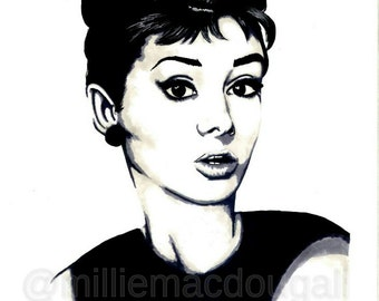 DIGITAL Download Audrey Hepburn Minimalist Portrait Art Print