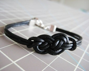 Black / Brown / Teal Simple Leather Celtic Knot Bracelet with Silver Clasp