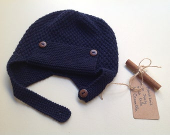 Baby kid 100% cashmere aviator pilot hat,  hand knit to order  size from 3 months to 4 years