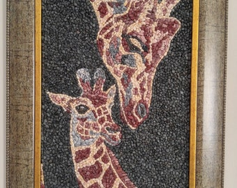 MOSAIC ART with natural stones and pebbles - Motherly love