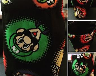Super Mario Bros dice bag, coin purse, drawstring bag, pouch, Mario, Luigi