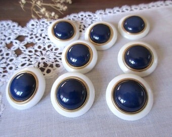 Vintage Buttons  , White and Navy  Buttons ,  White Buttons  , Navy ,   - set of 8
