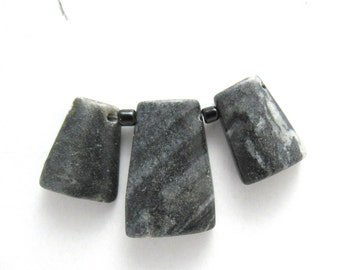 3 Pc Set Natural Picasso Marble Trapezoid Focal Beads (B86a)