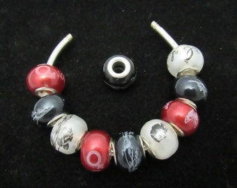 10 Assorted Euro Style Spray Painted Glass Beads