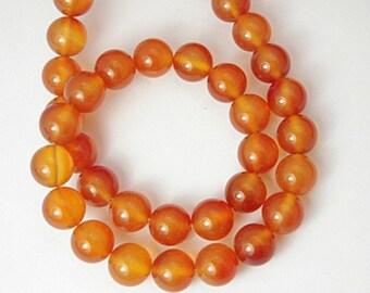 1 Strand Natural Carnelian Beads 8mm Round (B151b1)