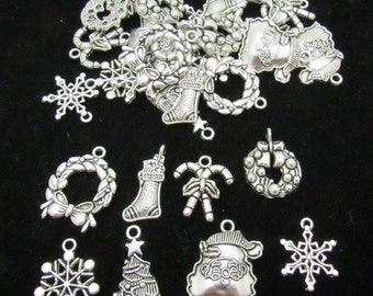 32 Antique Silver Assorted Christmas Charms (B18m)
