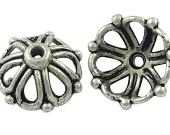 20pcs Antique Silver Tibetan Style Bead Caps 14mm (B47c)
