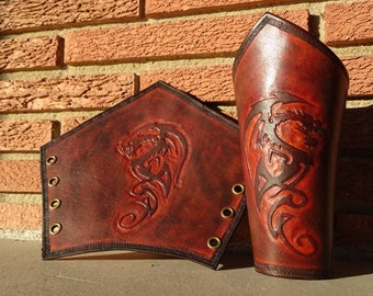 Handmade Leather Bracers with Dragon Detail