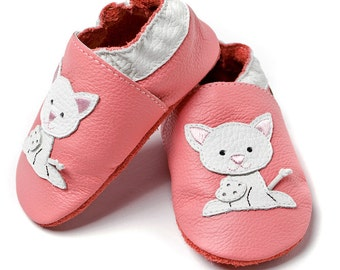 Soft sole leather baby shoes - Pink Pusycat