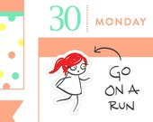 Running planner stickers, Workout stickers, gym stickers, planner stickers, exercise stickers, 32 stickers, MINI size, PPC164