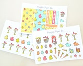 Easter planner stickers kit, planner stickers, kawaii planner ,march, spring, kawaii easter stickers, 21 stickers, PPC131