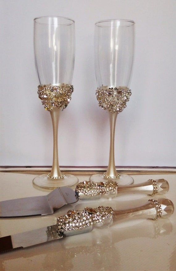 wedding cake cutters and flutes wedding silver glasses and cake server set by 22313