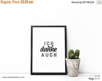 FLASH SALE Black and white wall art, Ich danke auch Instant downloadable Poster, Printable Poster, German Poster, Deutsch, Thank you poster.