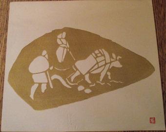 RARE set of 6 Woodblock PRINTS produced in 1967 by Inagaki Nenjiro known MIKUMO