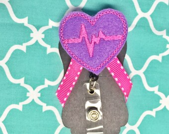 Pink and purple ekg badge holder great for nurses or teachers!