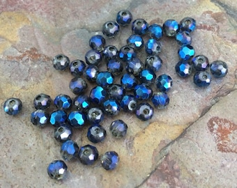 25 Czech Glass Rondelle Beads, Cobalt Blue, AB Finish, 3mm