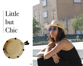 100% Natural Straw Boater Hat with pompom on the brim