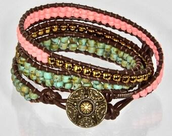 Earthy Wrap Bracelet Rustic Leather Bracelet Chan Luu Wrap Triple Wrap
