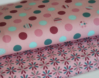 Fabric Jersey pink with dots and flowers