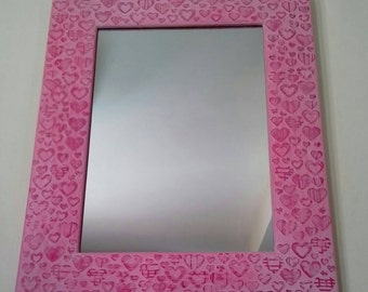 Textured picture frame mirror pink hearts