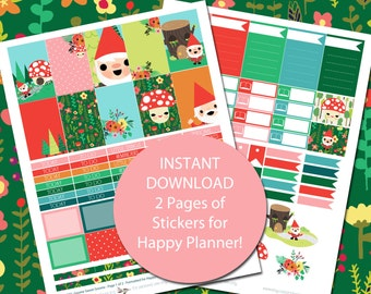Gnome Sweet Gnome - Happy Planner Stickers - Gnomes Stickers - Printable - 2 Pages - Instant Download - Elf Stickers - Fairy Tale Stickers