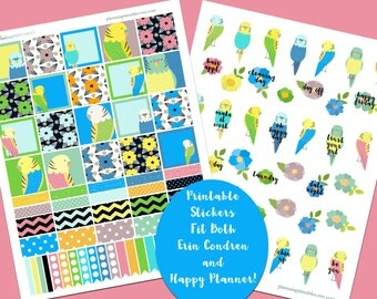 Budgie Birds, Build-a-Box, Printable Planner Stickers, Erin Condren Vertical, Happy Planner, Flowers, Washi, MAMBI, Blues and Greens